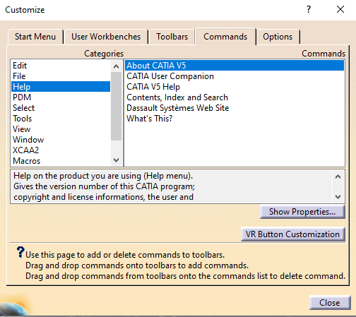 5-Customizing Toolbars and Start Menu in CATIA V5