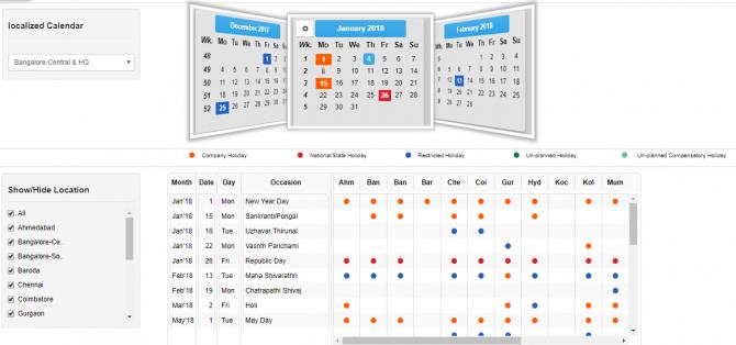 Calendar and Holiday list